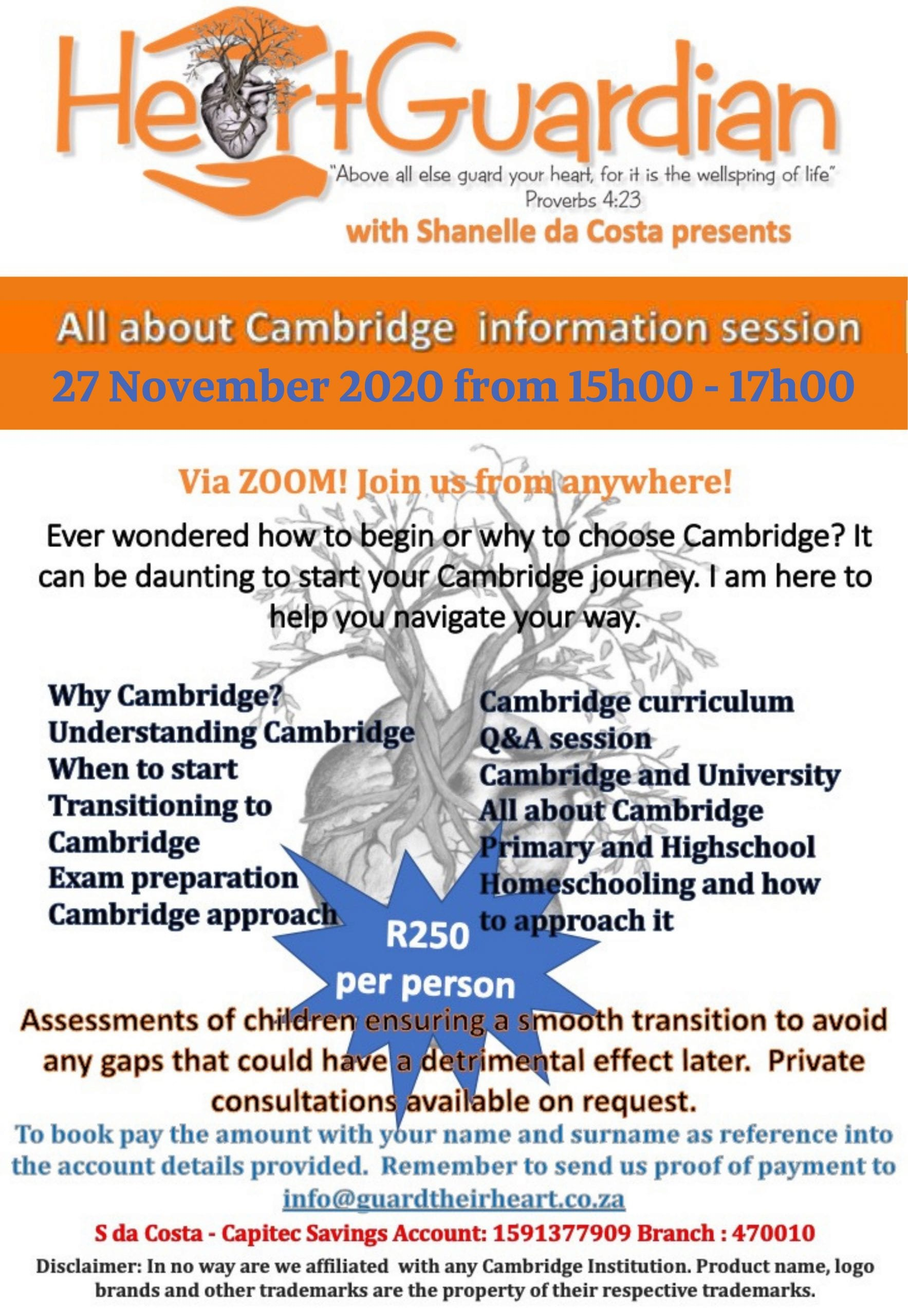 All About Cambridge Informational Session Zoom Call – 27 November 2020 from 15h00 – 17h00